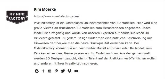 Benutzerprofil - My Mini Factory
