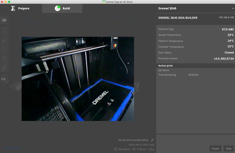 Dremel Slicer – Build Fenster mit 720p Videoüberwachung