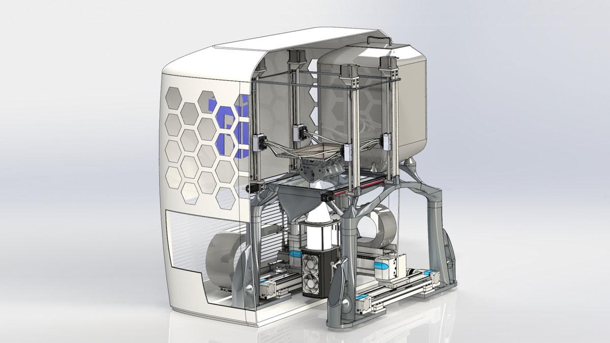 Visualisierung des an der TU Graz entwickelten 3D-Druckers, der Metallpulver mittels Hochleistungs-LED-Lichtquellen aufschmilzt. © TU Graz